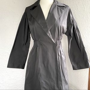 Theory Black Coat with Snaps and Gathered Waist